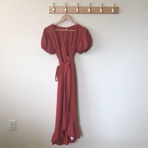 URBAN OUTFITTERS UO midi rust linen wrap dress